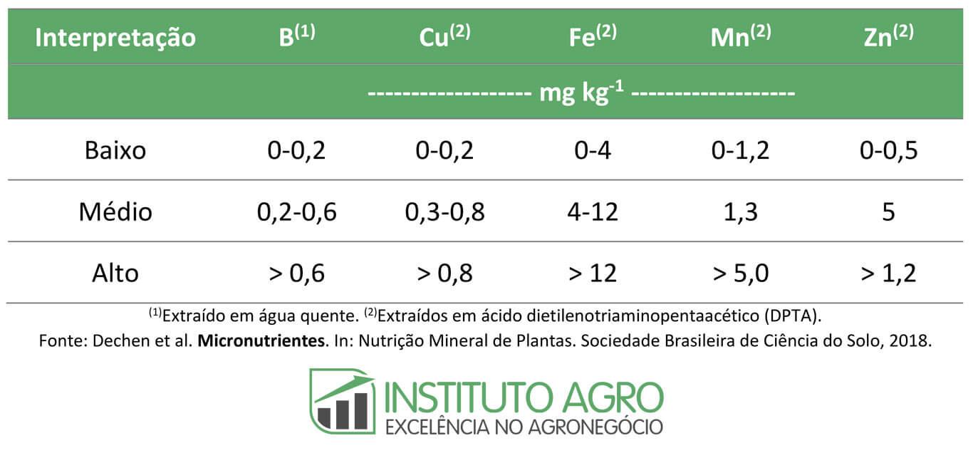 Micronutrientes: efeitos na produtividade e necessidade de adubação